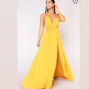 Mustard Fashionnova Wrap Dress!